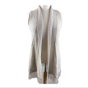 Tan Sweater Vest with Fringe